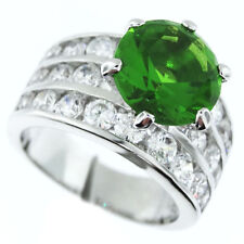 Ladies Peridot Round Stones & Crystal ST. Silver Rhodium Plated Ring Size 6