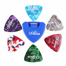 Guitar Picks Holder & 6Pcs Triangle Guitar Picks Celluloid Plectrums 3 Gauges
