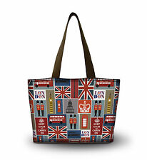 Union Jack Foldable Tote Women's Shopping Bag Shoulder Zip Bag Lady Handbag Tote