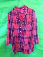 Victorias secret Night Shirt red Plaid Button Down Long SLeeve Draw string Waist