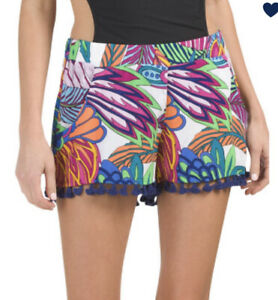 New Trina Turk Paradise Plume Beach Coverup Shorts Size L 2021💙🌊🧡🏝