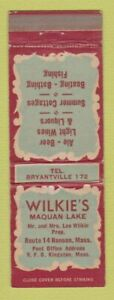 Matchbook Cover - Wilkie's Maquan Lake Hanson MA