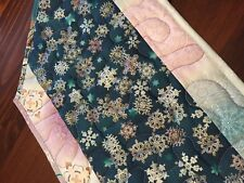 Handcrafted-Quilted Table Runner- It's a Winter Wonderland -Turquoise, Snowflake