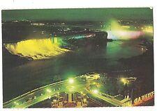 Illuminated at Night American Canadian Niagara Falls Parkway Canada Postcard