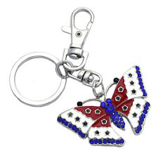 Independence Day gift American USA Flag Design Butterfly Charm Key Chain Ring