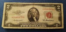1953 A $2 DOLLAR BILL OLD US PAPER MONEY CURRENCY RED SEAL NOTE REAL NICE!