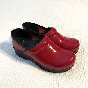 Dansko Clog Shoe Sz 5.5 - 6 US / 36 EU Red Patent Leather Shinny