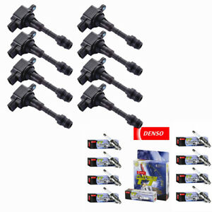 Ignition Coils + DENSO Spark Plugs for 03-10 Infiniti M45 & 2002-2006 Q45 4.5L