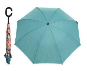 Brand New REVERSABLE UMBRELLA & REUSABLE BAG TEAL OR CORAL