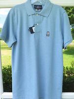Psycho Bunny Men Peruvian Pima Cotton Ocean Blue Polo Shirt Euro 4 Small NWT NEW