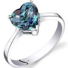 14K White Gold Created Alexandrite Heart Solitaire Ring 2.25 Carat Size 7