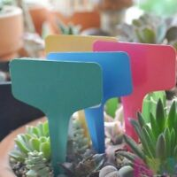 10x Multi-Colored Home Garden Nursery Plant Herb T-Shape Labels Tags/Marker Pen