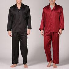 Hombre Satén Seda Pijama Vestido Set Sedoso Manga Larga Talla Plus L-XXXXG
