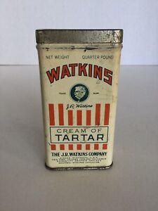 Vintage Watkins Cream Of Tartar Spice Tin Can 1/4 lb, The J.R. Watkins Company