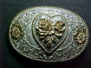 Crumrine Belt Buckle 2 Tone Heart Design Western Cowboy Cowgirl Silver Plated