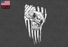 "American flag Bass fish sticker decal- fishing USA 10"" (BassAmerFlagVC10"")"