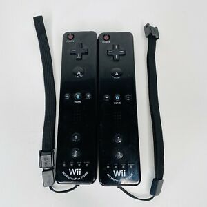 2 Nintendo Wii Console Black Motion Plus Built In Remote Controllers RVL-036
