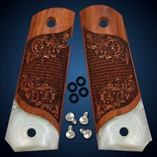 1911 Full Size Colt Kimber Springfield Grips Exotic Solid Rosewood & Faux Pearl