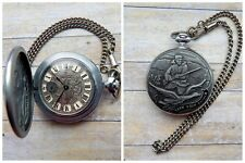 New! USSR Russian Molnija Pocket Watch With Chain Take Your Chance - Hunting