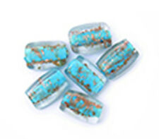 Craft Factory Fancy Glass Lamp Beads Lt Blue/Gold - per pack of 6 - CF0173200
