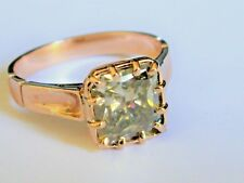 9CT ROSE GOLD ANTIQUE STYLE RING WITH 2.4 CARAT SOLITAIRE BLUE/GREEN MOISSANITE