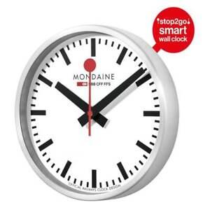 Mondaine MSM.25S10 SMART STOP2GO Brushed 25cm Wall Clock