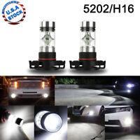 5202 H16 LED Fog Light Bulbs for 2007-2015 Chevy Silverado 1500 White 6000K 100W
