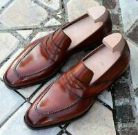 Mocassins en cuir marron véritable faits à la main pour hommes Chaussures