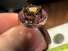 sterling silver 925 yellow GOLD Ring 7 MADEIRA Citrine Natural Sapphire solitair