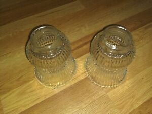 Lot of 2 Clear Ribbed Glass Ceiling Fan Light Globe Shades Replacement