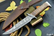 Damascus Steel Bowie Ranger Hunting Knife Handmade | Stacked Leather Handle