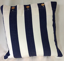 Navy White Stripe Cushion Cover Scatter Nautical Decor Pillow Case Daybed Mode