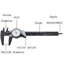 """0-150mm Dial Vernier Caliper Gauge Micrometer Tool Stainless Steel 0-6"""" & case"""