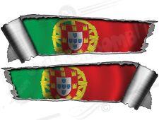 Paire 290mm roulé Ripped Déchiré Métal larme PORTUGAL drapeau autocollants en vinyle de voiture