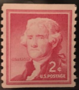 THOMAS JEFFERSON 2 CENT VINTAGE POSTAGE STAMP RED - EXTREMELY RARE - UNUSED!!
