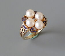 Vintage 14k yellow gold pearl and blue enamel ring