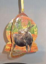 Moose Christmas Ornament Wildlife Steel Globe Shape Trees Fall New
