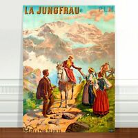 "Stunning Vintage Travel Poster Art ~ CANVAS PRINT 36x24"" Jungfrau Top of Europe"