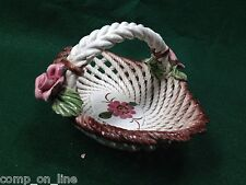 Rare BASSANO Italy Porcelain Capodimonte Reticulated Basket with Flowers