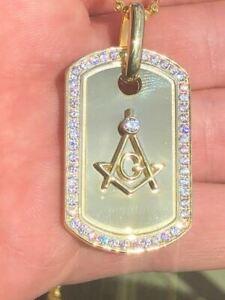 Sterling Silver 925 *14k Gold Plated* Free Mason Masonic Dog Tag Diamond Pendant