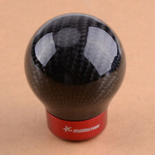Black Carbon Fiber Round Ball Car Manual Gear Shift Lever Knob with 3 Adapters