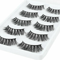 5 Pairs 100% Mink Natural Thick Eyelashes Pro Makeup False Eye Lashes Extension