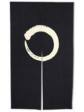 "Japanese 59"" Noren Doorway Room Divider Curtain Black Circle Ensoh Made in Japan"