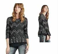 Lucky Brand Women's L Black Chevron Shine Pullover Sweater Hi-Lo Hem NWT $89.50