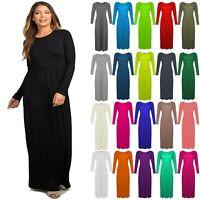 Womens Plain Long Sleeves Maxi Dress Ladies Plus Size Jersey Long Flare Dress