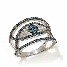 Rarities Carol Brodie .75 ct Blue & White Diamond Sterling Silver Evil Eye Ring
