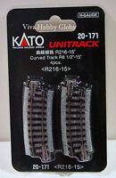 "Kato 20171 N Gauge Unitrack Curved Track R8 1/2""-15 Degrees. R216-15. 4pcs."