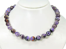 Wonderful Precious Stone Necklace in Charoite Stones in Ball Shape d-12 mm
