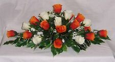 wedding flowers top table decoration orange & ivory roses gyp many colours