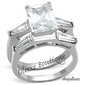 Stunning Emerald Cut AAA CZ Wedding Engagement Ring Band Set Women's Size 5-10